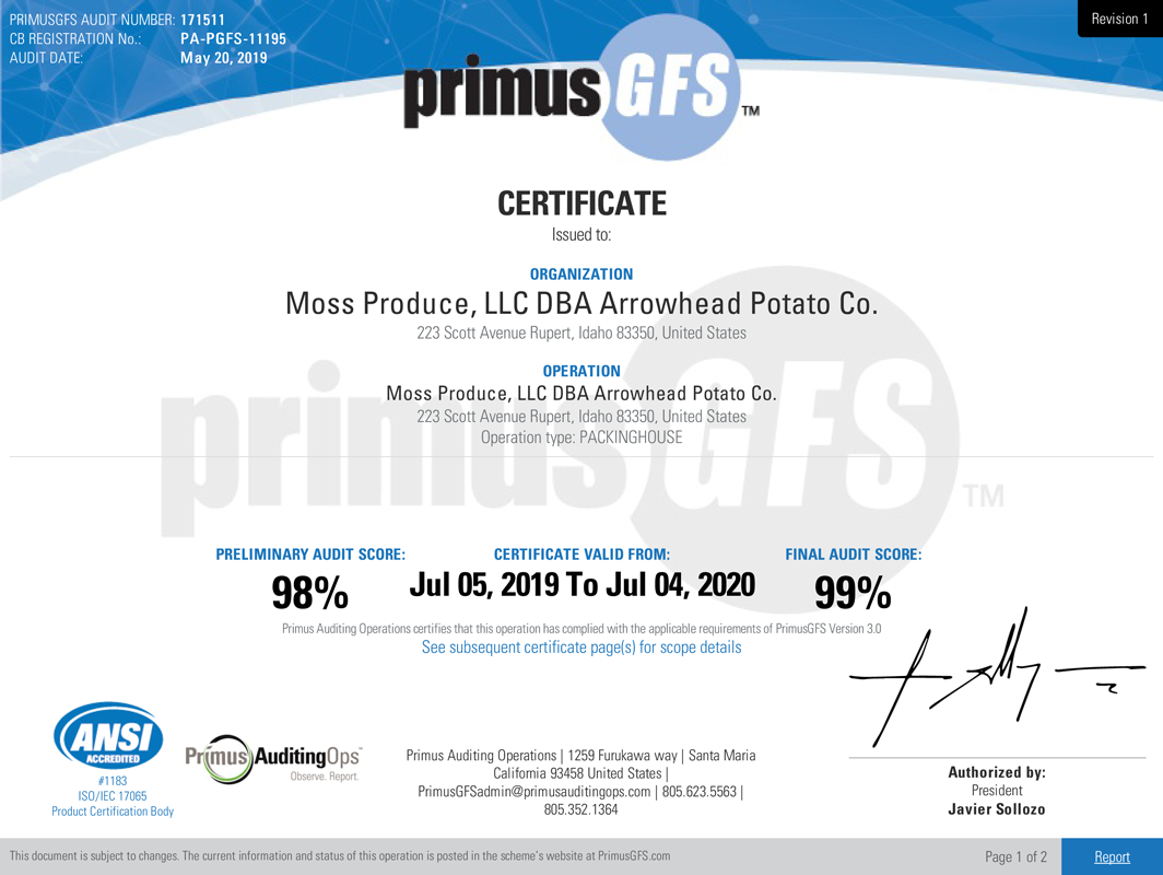 Primus Food Safety Certificate